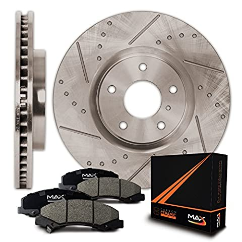 Front Premium Slotted & Drilled Rotors and Ceramic Pads Brake Kit KT015331 | Fits: 2012 12 Chevy Silverado 1500 2WD/4WD - Brake Pads Express Van