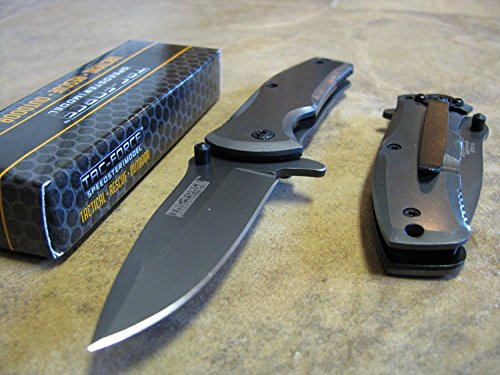 TAC-FORCE-Grey-TITANIUM-Spring-Assisted-Open-TACTICAL-Folding-Pocket-Knife-NEW