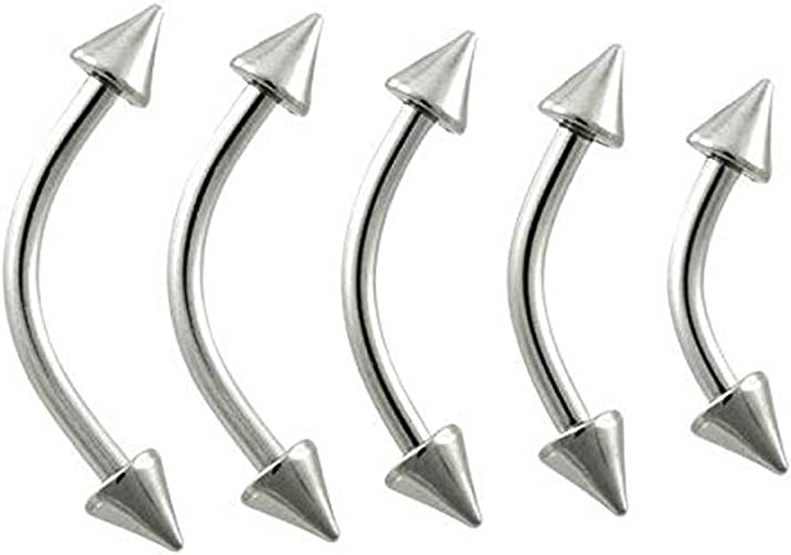 Blesiya 8pcs Stainless Steel Spike Curved Lip Stud Eyebrow Ring Jewelry 16G