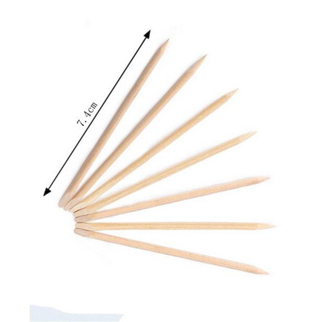 Vovotrade ❃❃❃ Nail Art Double-Tête Mode Féminine Beauté Orange Bois Bâton Cuticule Pusher Remover Pédicure Manucure Bâton Outil (7.4cm) __ 100 Pcs (Wood color)