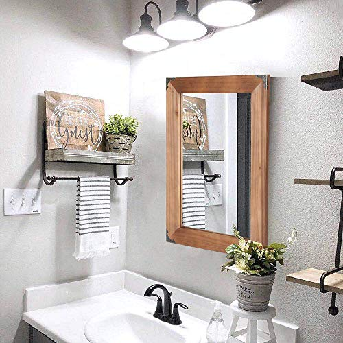 (Vanity Mirror-Makeup Mirror-Wall Mirror-Bathroom Mirror-Rustic Wood Frame Mirror with Decorative Metal Corners for Farmhouse Living Room Bathroom or Bedroom (19.8 x 13.8, Brown))