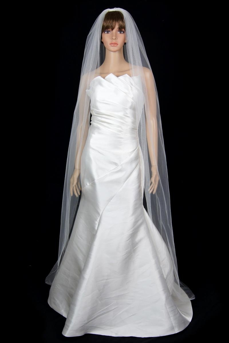 Bridal Wedding Veil White 1 Tier Long Chapel Length With Standard Cut Edge