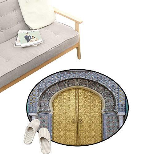Moroccan Custom Round Carpet ,Antique Doors Morocco Gold Doorknob Ornamental Carved Intricate Artistic, The Custom Round Non-Slip Doormat 47