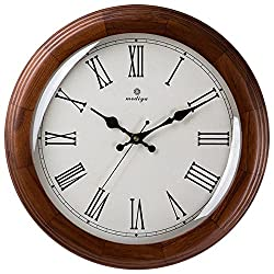 Retro Wooden Wall Clock 16 Inches,Rome Digital Metal Large Numbers Quartz Chronometer For Living Room Kitchen Kids Teenager Bedroom Office Wall Art Decor Wedding Birthday Party Gift