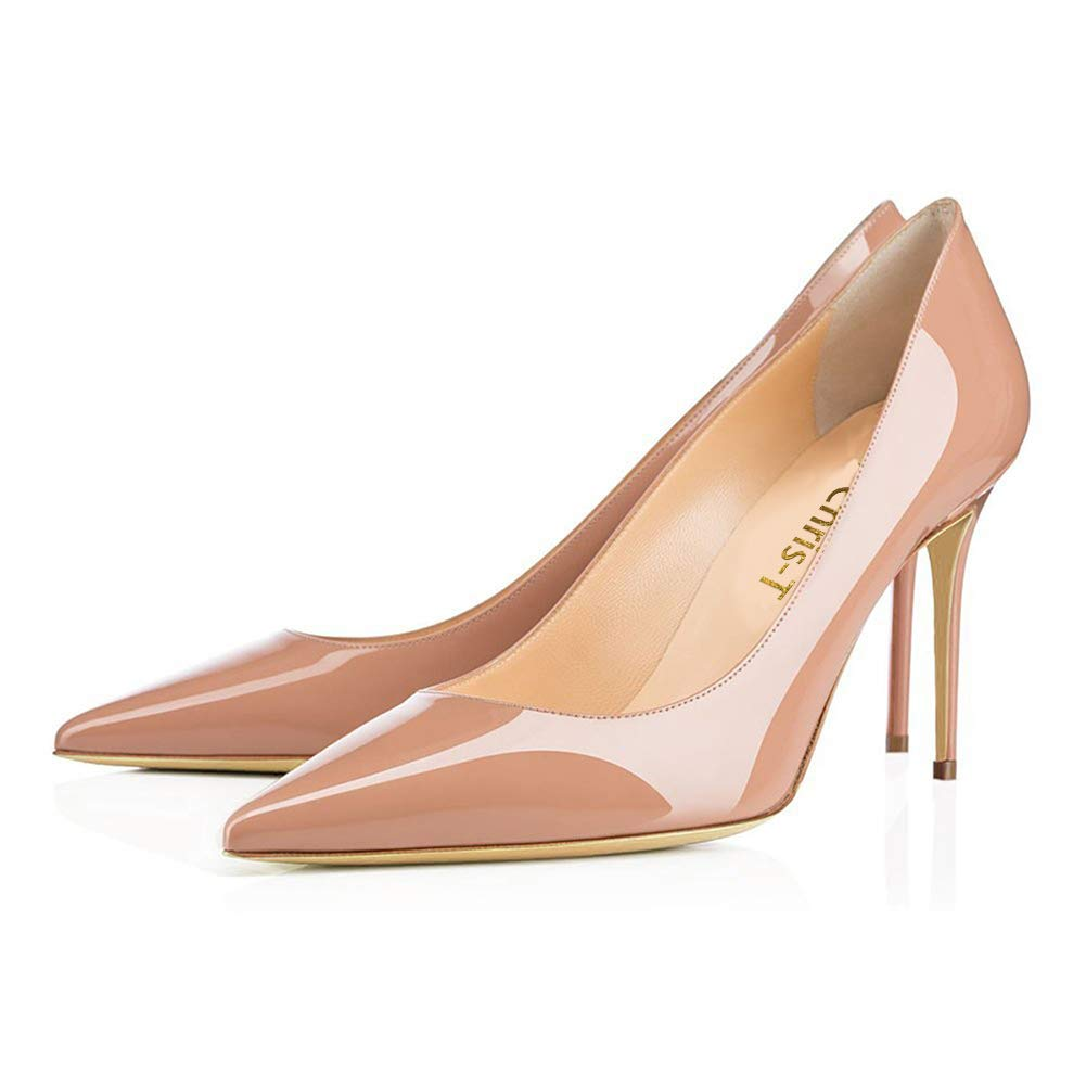 Chris-T Womens Pointy Toe High Heels Slip On Stiletto 12CM Leather Party Dress Pumps Shoes 5-14 Classic