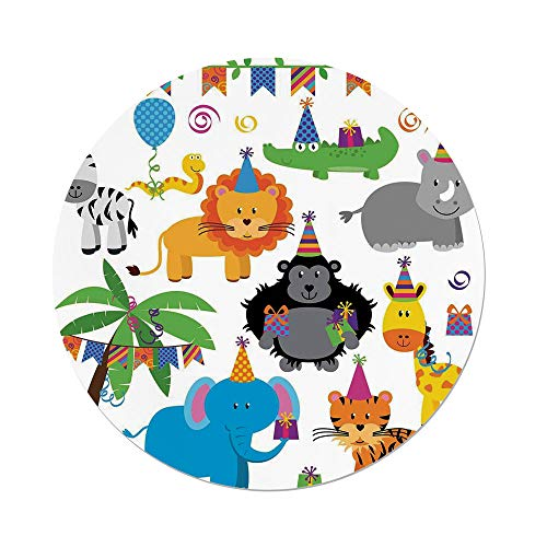 iPrint Polyester Round Tablecloth,Birthday Decorations Kids,Jungle Wild Animals in Cartoon Pattern Party Hats Flags Image,Multicolor,Dining Room Kitchen Picnic Table Cloth Cover Outdoor Indoor by iPrint