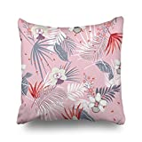 Throw Pillow Covers Hawaii Print Seamless Beautiful Artistic Textures Botanical Floral Mix Texture Square Size 20 x 20 Inches Custom Cushion Pillowslip Decorative Home Decor Pillow Case