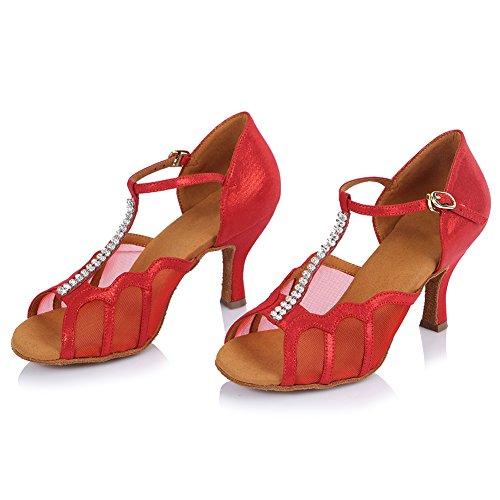 de amp; bal strass HIPPOSEUS de Salle Maquette Filles danse danse Chuaussures Chaussures de amp; Satin AF453 Standard pour Femmes en Rouge latines wq8Tq