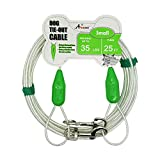 Petest 25ft Reflective Tie-Out Cable for Small Dogs Up to 35 Pounds