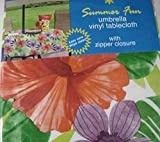 Summer Fun Flannel Back Vinyl Umbrella Tablecloths with Hole and Zipper- Tropical Floral Assorted Sizes (52 x 70 Oblong)
