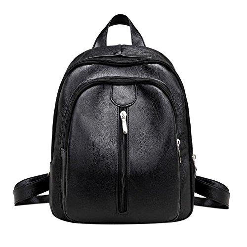 JD Million shop Waterproof Women Backpack Fashion PU Leather Shoulder Bags Black Color School Travel Bag for Teenager Girls Backpack