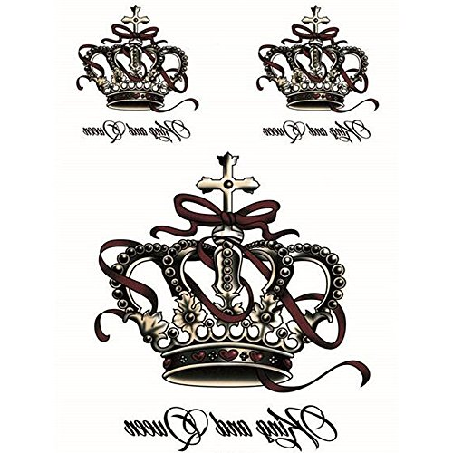 For Crowns Sale Queen (Yeeech Temporary Tattoos Stickers Crown King and Queen Cross Ribbon Designs Waterproof for)