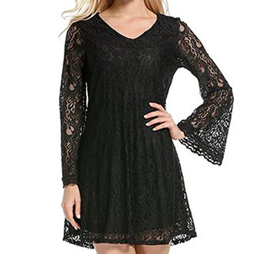 Vestidos De Mujer Elegante De Encaje Vestidos Formales Verano Tamaño Grande Atractivo Vestidos Black