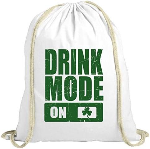 ShirtStreet Irland St. Patrick's Day natur Turnbeutel Gym Bag Drink Mode On