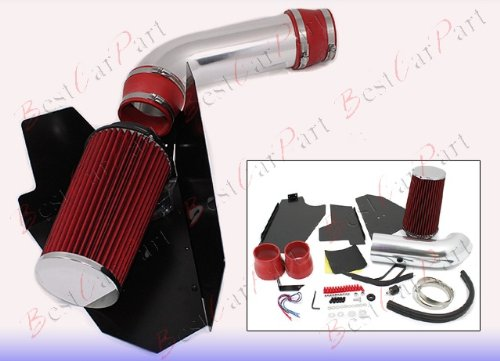 96 97 98 99 GMC Yukon/Sierra All Models with 5.0L/5.7L V8 Heat Shield Cold Air Intake + Red Filter HSICH3R by Click 2 Go