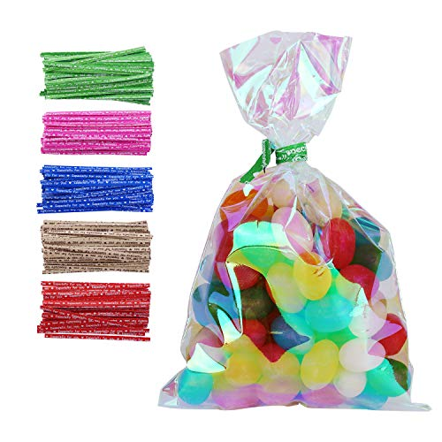 100 Pack Iridescent Holographic Cellophane Party Favor