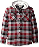 Wrangler Authentics Men's Long Sleeve Quilted Lined Flannel Shirt Jacket with Hood, Biking Red with Gray hood, 2XL