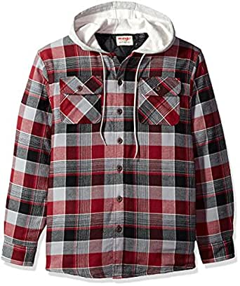 Wrangler men 39 s long sleeve quilted lined flannel shirt for Men flannel shirt jacket with quilted lining