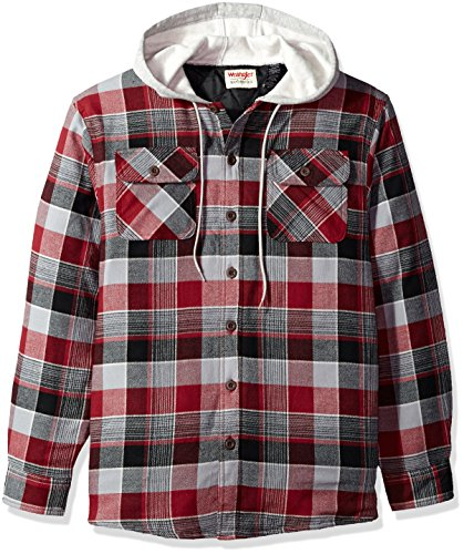 Flannel Long Sleeve Shirt - Wrangler Authentics Men's Long Sleeve Quilted Lined Flannel Shirt Jacket with Hood, Biking Red with Gray hood, XL