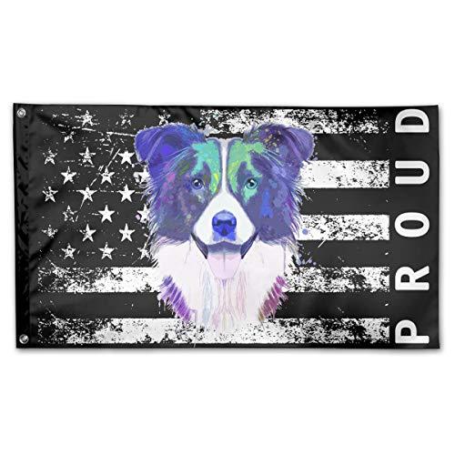 Border Collie Watercolor - P-flager Proud American Flag with Border Collie Watercolor Flag 3x5 Ft