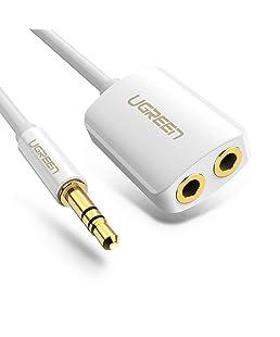 UGREEN Splitter Audio Jack 3.5mm Mâle vers 2 Prises Femelles Répartiteur de Casque Compatible avec Écouteur Casque Enceinte PC Tablette Téléphone Lecteur MP3, Incompatible avec Microphone, 20cm Blanc
