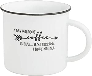 Collins Painting Funny Camp Mugs, Porcelain, 12 Ounce - Novelty Coffee Mugs - Funny Coffee Mugs (Day Without Coffee)