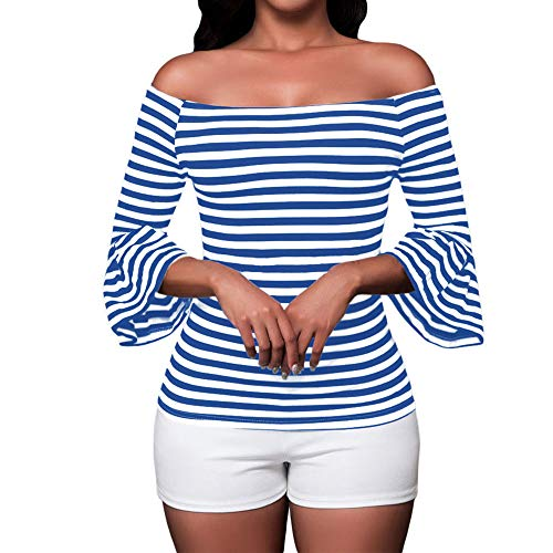 Shoulder Flared Sleeve Black and White Stripe T Shirt Top Blouse (XX-Large, Blue) ()