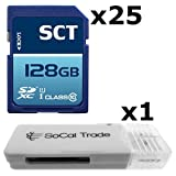 25 PACK - SCT 128GB SD XC Class 10 UHS-1 Secure Digital Ultimate Extreme Speed SDXC Flash Memory Card 128G 128 GB GIGS (S.F128.RTx25.562) LOT OF 25 with USB SoCal Trade© SCT SD Memory Card Reader - Bulk Packaging