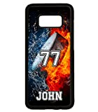 Galaxy S9 Plus Case, ArtsyCase Water Fire Hockey Puck Personalized Name Number Phone Case for Samsung Galaxy S9 Plus (Black)