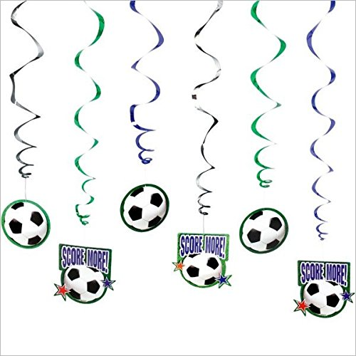 Soccer Themed Halloween Costumes (Soccer Goal Birthday Party Hanging Swirl Ceiling Favour, Paper, Pack of 12)