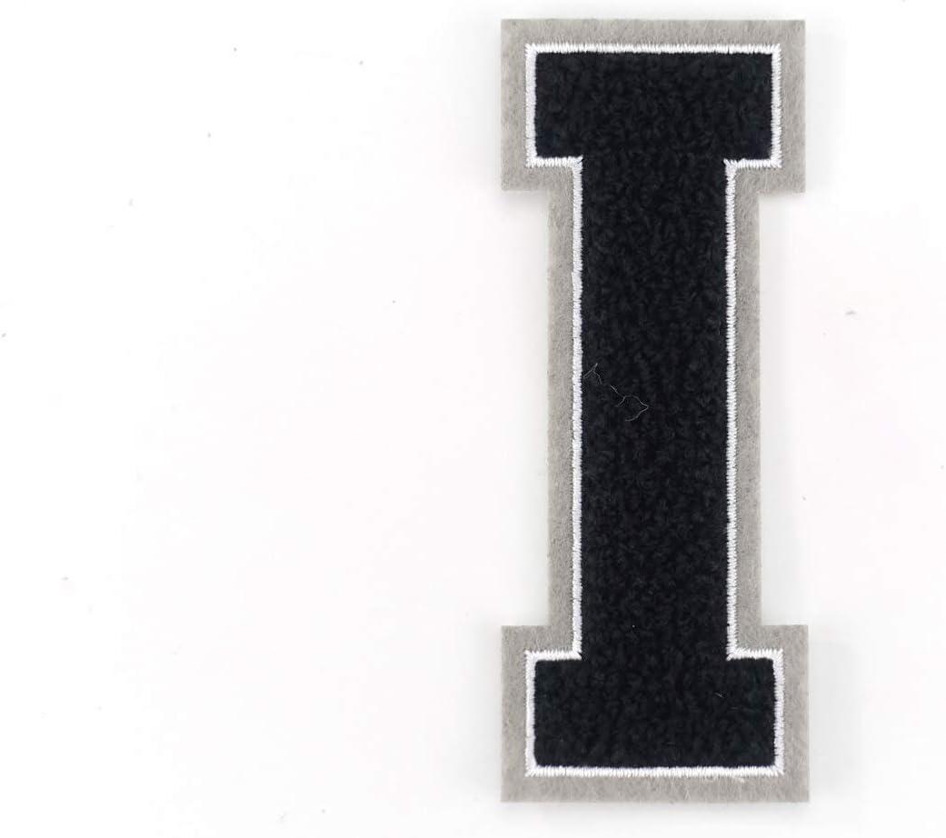 Naehgedoens.de Lettre A-Z en /éponge Noir//Blanc//Gris Hauteur 9,5 cm E