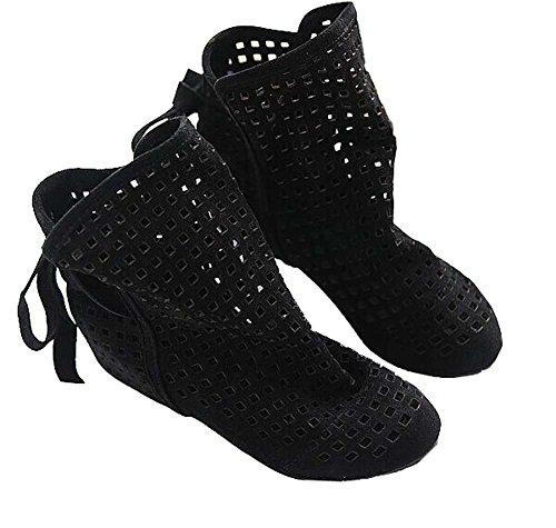 XiuHong Shop Sommer Damen Rom nach kühlen Stiefel schnüren Schuhe Schwarz