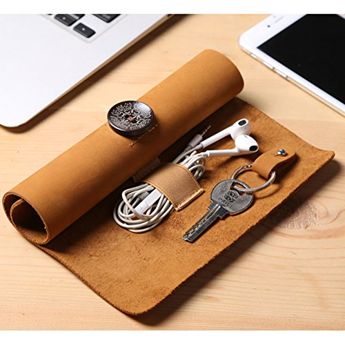 Roll-up Leather Electronics Gadgets Travel Organizer Case for Charging Line, Headphone, Key and other Accessories(Camel)