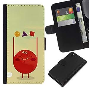 KLONGSHOP // Tirón de la caja Cartera de cuero con ranuras para tarjetas - Formas celulares Polígono Arte Rojo Sangre - Sony Xperia Z3 D6603 //