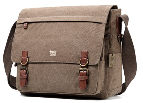 Troop London Canvas Messenger Bag Fits Up To 17 Inch Laptop Size Large TRP0207 (London Troop)