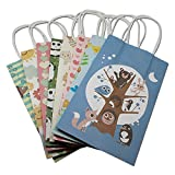 "130 Pieces 8.3""x5.1''x3.1''(21138cm) Tree and Animals Pattern Cute Series Handbag Fashion Design kraft Paper Shopping Bags"