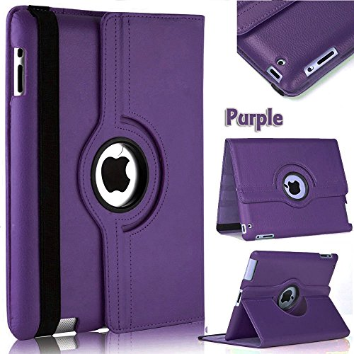 Mecasy_ 360 Degree Rotation Smart Leather Stand Case Cover for iPad 2/iPad 3/iPad 4 USA Seller (Purple) (Stand Rotation Degree 360)