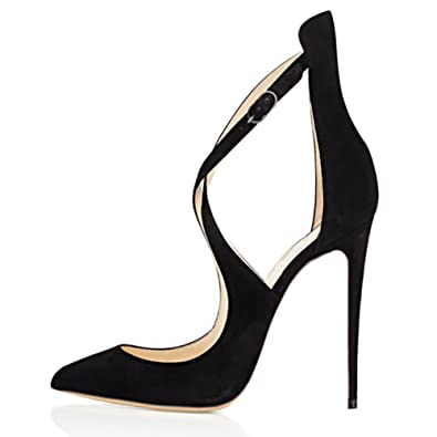 ee61f61c322 MERUMOTE Y-196 Women Cross Strap Strappy High Heels Pointed Toe Pumps Shoes  Suede-