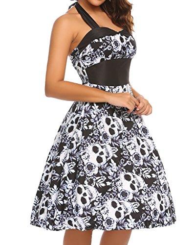 50s Sweetheart Plus Size Costumes (Zeagoo Vintage 1950s Rockabilly Halter Floral Audrey Dress Retro Cocktail Dres)