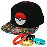 Pokemon Ball Power Team Snapback Cap Hat with Bracelet