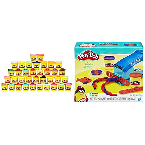 Play Doh 36 Can Mega Pack   Amazon Exclusive With Play Doh Fun Factory Set Bundle