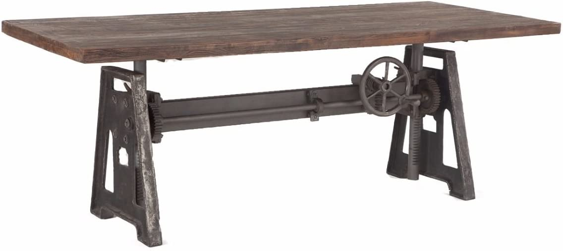 Burleson Home Furnishings Industrial Steel Crank Adjustable Table