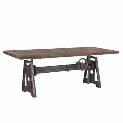 Superbe Burleson Home Furnishings Industrial Steel Crank Adjustable Table