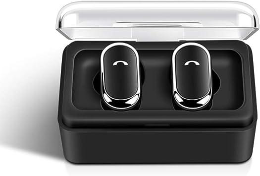 VLERHH Auricular Inalámbrico Bluetooth,Auriculares Inalámbricos Bluetooth 5.0 Auriculares Caja De Carga Sonido Estéreo Verdadero con Micrófono Manos Libres Audífonos Control,Negro: Amazon.es: Electrónica