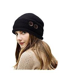 Lawliet New Womens 100% Wool Slouchy Wrinkle Button Winter Bucket Cloche Hat T178