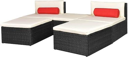 Xinglieu Juego de Dos Camas solares Modulares de jardín, Piezas en polirratán Negro Juego de sillas y Mesa de jardín, Mesa y sillas de jardín: Amazon.es: Jardín