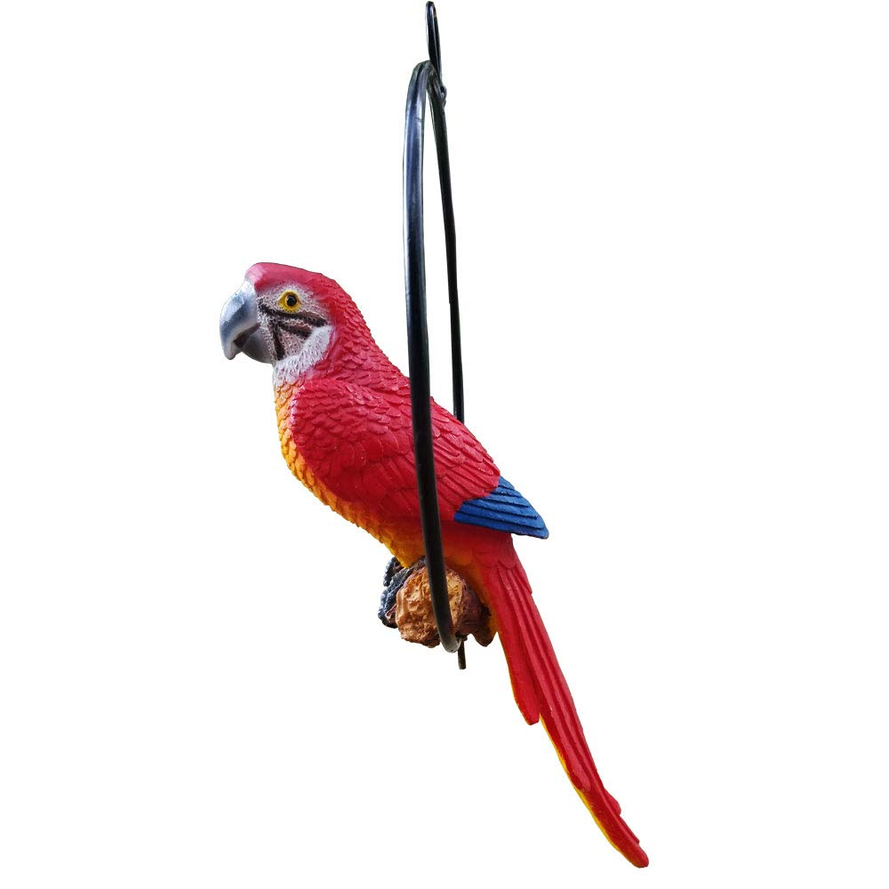 S&F Life Size Hanging Parrot Statue Like a Real Parrot Patio Lawn Ideal Decor Nature Lovers Tropical Bird Collectors (Small Size)