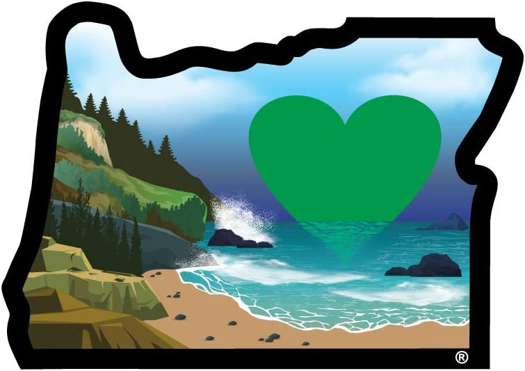 Oregon Sticker | Heart in Oregon Coast | Pacific Ocean Decal | 3.5in 3in Waterproof | Apply Decal to Water Bottle Laptop Cooler Bumper Tumbler