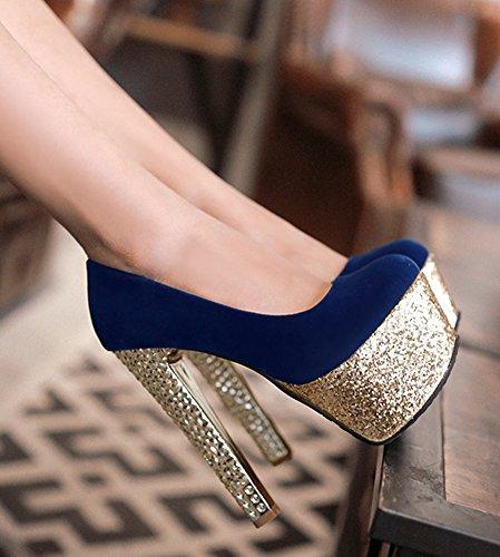 Aisun Mujeres Sexy Glitter Lentejuelas De Corte Bajo Puntiagudos Slip Elegante En La Plataforma De Tacón Alto Bombas Zapatos Con Lentejuelas Azul Marino