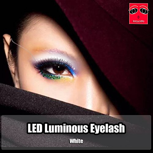 Charming Eyelid LED Eyelashes,Shining For Party Bar NightClub Concerts Stage Birthday Gift Halloween, Sound Control Luminous Shining Tape Glowing False Eye lashes (White)
